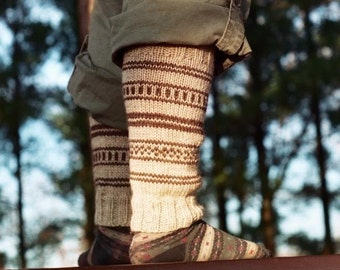 KNITTING PATTERN - Natural Oatmeal Leg Warmers - Adult