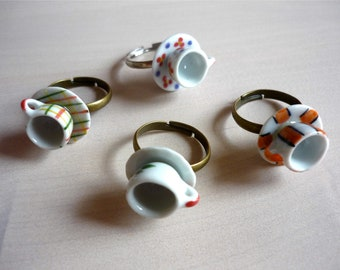 Teacup and Saucer Ring. Adjustable size ring. Teacup ring