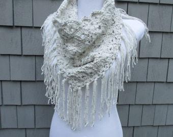 Crochet Scarf, Crochet Triangle Scarf, Crochet Neck Warmer, Crochet Cowel, Infinity Fringe Scarf by CROriginals