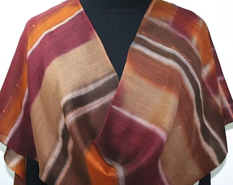 Silk Wool Scarf Handpainted Burgundy, Brown, Beige Shawl FALL HARVEST, by Silk Scarves Colorado. Select Your SIZE! Birthday, Christmas Gift