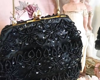 vintage 50s black bag, beads sequins, dangling beads, sassy look, evening purse, beaded handbag