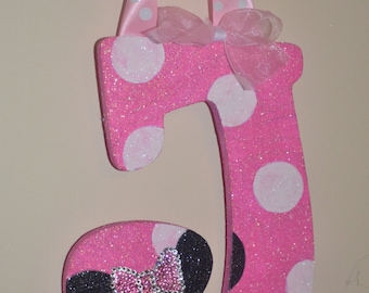 GLITTER Pink/White Polka Dot Minnie Mouse Inspired Decorative Wall Letters  (wood), Nursery Decor, Baby Shower Gift