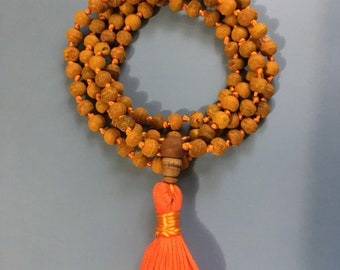 Haldi 108 bead mala; hand knotted