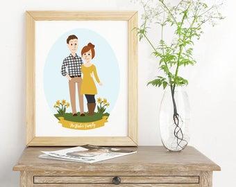 Illustrated Family Portrait, Custom Family Portrait, Custom Illustrated Portrait, Digital Portrait