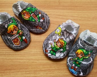 Baby Legend of Zelda shoes,Zelda Baby,The Legend of Zelda Baby shoes,Zelda inspired fabric shoes,boy,girl,Baby shower gift,Gaming baby shoes