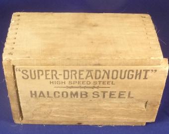 "Vintage ""Super-Dreadnought"" Halcomb Steel Drill Bit Wooden Box, 1910s"