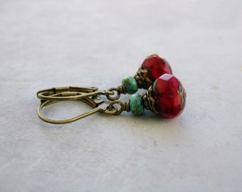CherryTartes . earrings czech beads cherry red fall english garden romance rustic turquoise picasso rondelle tiny earrings