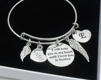 Sister bereavement bracelet | I will hold you in my heart until I hold you in heaven | loss of sister | memorial remembrance jewelry
