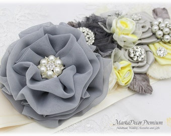 Wedding Sash Bridal Jeweled Flower Sash Custom Belt in Gray, Yellow Maize, Ivory, Silver with Brooches,  Flowers
