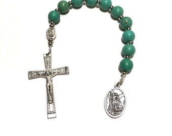 St Michael Chaplet for Men, Catholic Rosary, Saint Michael Medal, Archangel Michael, Guardian Angel Gift, One Decade Rosary, Gift for Dad