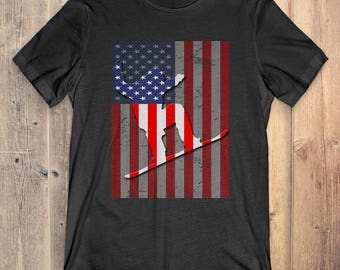 Snowboarding T-Shirt Gift: American Flag