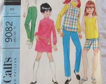 vintage McCALLS 9082 sewing pattern-- Girls Separates:  dress or blouse, top, and pants or shorts  (size 10)--1967