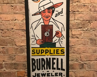 Vintage Ithaca Cameras and Supplies Sign Burnell Jeweler Gorham New York
