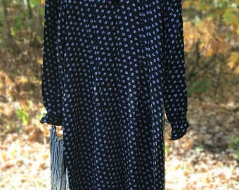 vintage high neck dress with small cherry design