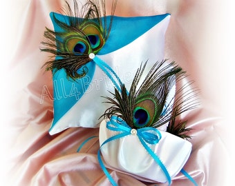 Peacock wedding turquoise flower girl basket and ring pillow, peacock feather wedding accessories
