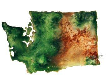 Washington Topography Print