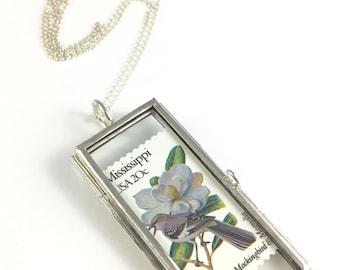 Mississippi Necklace, Mississippi Bird, Mississippi Flower, Mississippi Gift, Mississippi Jewelry, Mississippi charm, Mississippi Gift