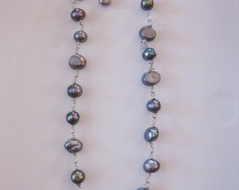Irridescent Pearl Wire Wrapped Necklace
