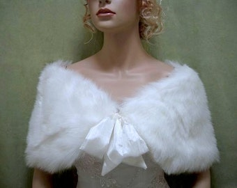 White faux fur shawl faux fur wrap faux fur shrug faux fur stole C002-White