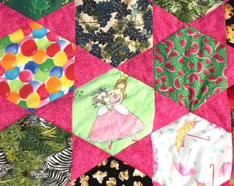 I Spy Quilt  for Girls in Pink Baby Blanket Nursery Bedding