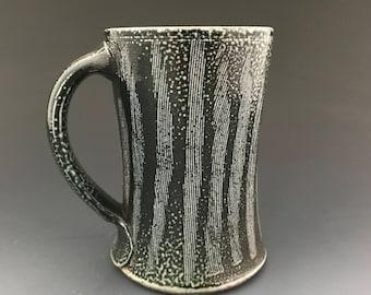 Coffee Mug - Dark Cobalt Slip - Combed Decoration - Soda Fired Stoneware Pottery - Ron Philbeck (COB2)