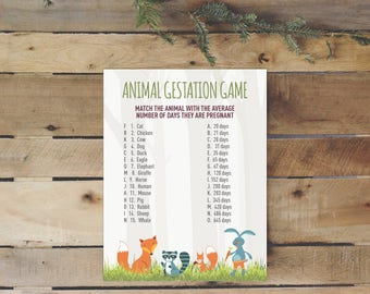 Woodland Creatures Baby Shower Animal Game