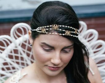 Majorelle Headpiece - Bridal pearl headband - bird of paradise hair chain art nouveau - victorian reign tiara - MADE to MEASURE