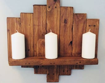 Rustic pallet wood chunky shelf/ wall sconce / candle holder  farmhouse style | floating shelf |reclaimed wood | handmade | ready to ship