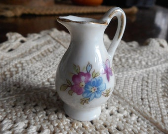 Vintage Miniature Bone white China Floral Pitcher Tiny collectible Japan Non Profit sale. Proceeds to Montgomery County Historical Society