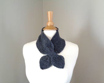 Charcoal Gray Ascot Scarf, Cashmere Blend, Pull Through Scarflette, Neck Warmer, Cashmere Merino Wool, Hand Knit Scarf