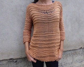 Caramel sweater / chunky cotton sweater/ handknit sweater/ Oversized Sweater/ Loose knit sweater