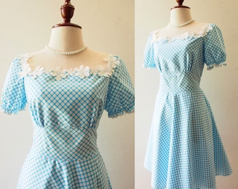 Happily Ever After - Puff Sleeve Dress Blue Gingham Dress Blue Summer Dress Swing Skirt Tea Party Style Vintage Sundress