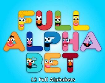 Sesame Street - Alphabet Clipart - 576 png files 12 Alphabets 300 dpi