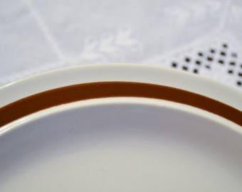 Vintage Clearbrook Round Chop Plate Platter Cream Brown Band Four Seasons Stoneware PanchosPorch