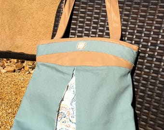 Sage Green and Tan Peek-a-Boo Tote