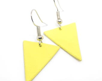 """The Deltas"" yellow is handmade leather earrings"