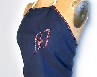 DF Initial Cotton Halter Beach Summer Top Vintage 1950s Embroidered Initial Navy Blue Cotton White Rope Tie Summer Top Nautical