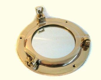 Small porthole mirror to open, material brass *