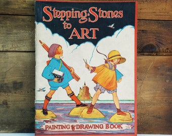 Antique Coloring Book / McLoughlin Bros Stepping Stones to Art Painting and Drawing Book