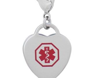 Medical Alert ID Heart Charm or Zipper Pull