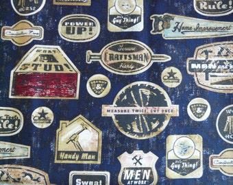 Handyman Fabric - Guy Fabric - Mens Fabrics - Crafty Man - Man Quilt Fabrics - Clever Boy Fabric - Cotton Fabrics - 100% Cotton - half yards
