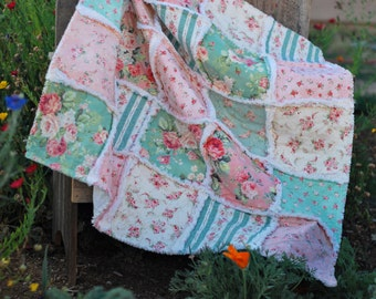 "Rag Quilt, Baby Girl, Made to Order ~, Baby Girl Quilt, Shabby Chic, 36"" x 36"" Quilt, Baby Shower Gift, Roses, Green, Peach, Floral Stripe"