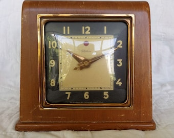1940s Classic Waterfall Electric Clock Telechron Wood Made in USA Model 3H151 5 Foot Cord