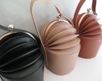 leather accordion bag, leather handbag, black leather bag, beige leather bag, brown leather bag, leather handbag, evening bag, leather purse