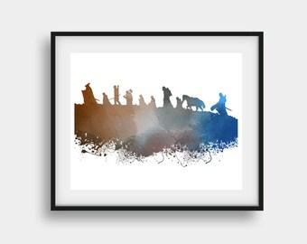 Lord of the Rings, LoTR Print, Fellowship of Ring, Movie Print, Aragorn Print, Legolas Print, Gandalf Print, Motivational Print, Wall Art