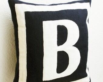 Customized Monogram Throw Pillow, Felt Pillow Cover, Navy Blue ivory Cushion Covers, Gift, Felt Monogram, Felt Cushion, Monogrammed Pillow