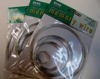 Memory Wire, Assorted Sizes. Silver Plated, Ring, Bracelet, Necklace, Bead Smith Brand,Creative Projects