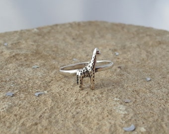Giraffe Ring, Solid Sterling Silver Giraffe Ring, Safari Jewelry, African Animal Jewelry