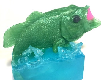 Big Bass Soap - Large Handmade Bass Soap - Fish Soap - Unique and Exclusive Design by Artisan Provisions