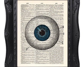 Eye print, Anatomy print, Vintage book art prints, dictionary art, Home Wall Decor, Gift poster, Gift for him, Gift for her  [ART 055]